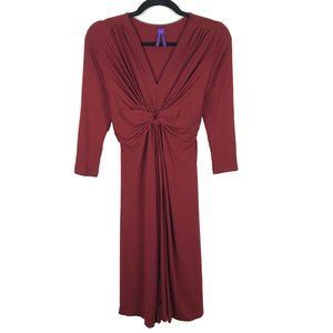 Seraphine Red V Neck Gathered Tie Waist Dress 2